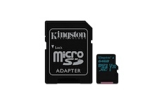 Kingston 64 GB Micro SDXC Canvas Go! C10 90R 45W + SD adapter