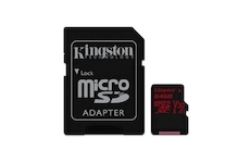 Kingston 64 GB Micro SDXC Canvas React C10 100R 80W + SD adapter